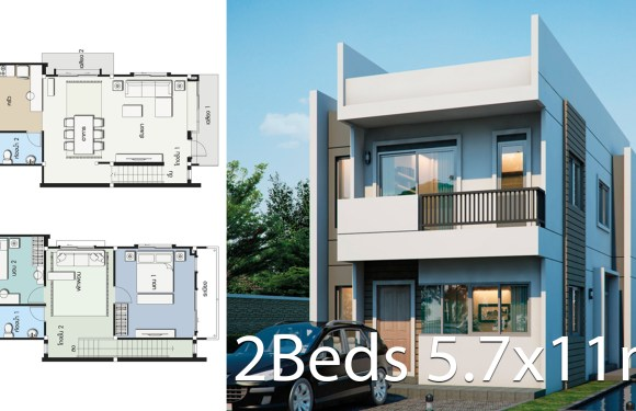 House design plan 5.7x11m with 2 bedrooms