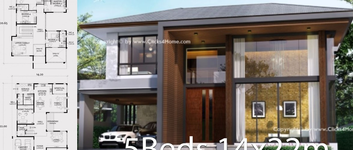 Home design plan 14x22m with 5 bedrooms