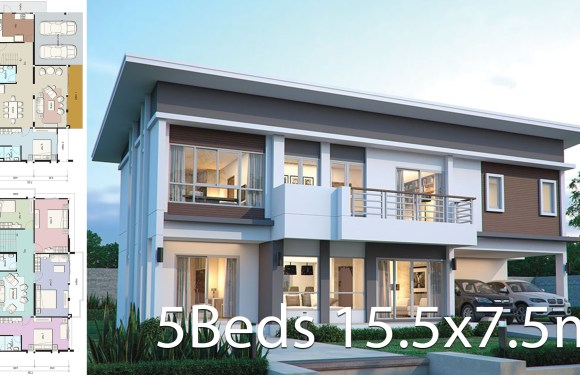 House design plan 15.5×7.5m with 5 bedrooms