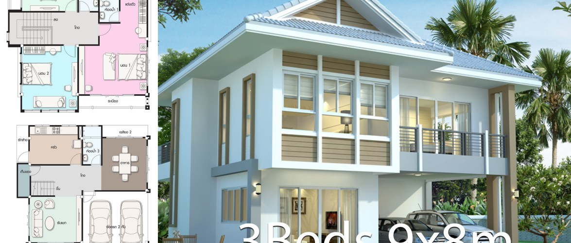 House design plan 9×8 with 3 bedrooms