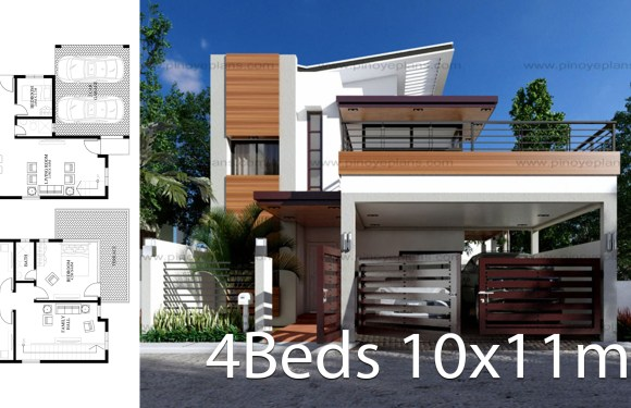 Modern home design 10x11m with 4 bedrooms