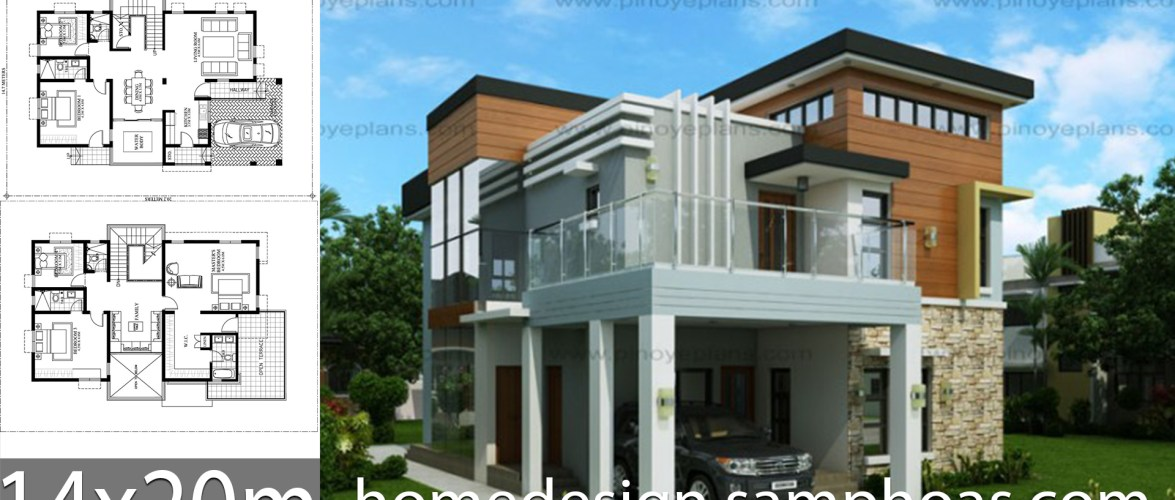 House Design Plans 14x20m with 5 Bedrooms