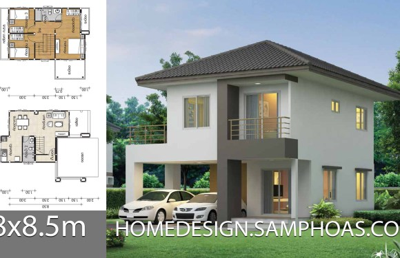 House plans 8×8.5m with 3 bedrooms