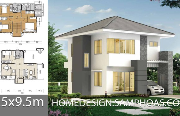 Small House plans 6.5×9.5m with 4 bedrooms