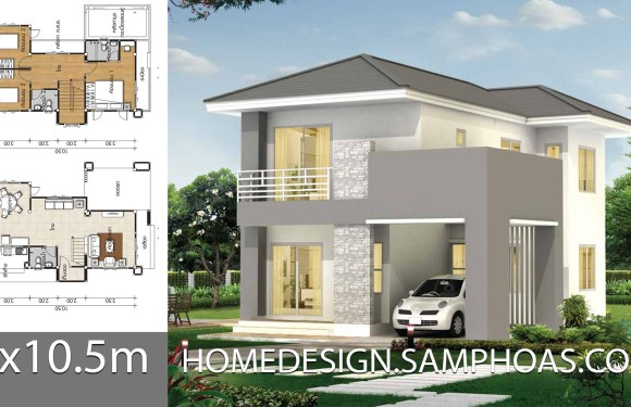 Small house plans 7×10.5m with 3 bedrooms
