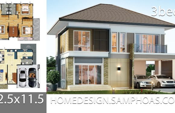 House Plans idea 12.5×11.5 with 3 bedrooms
