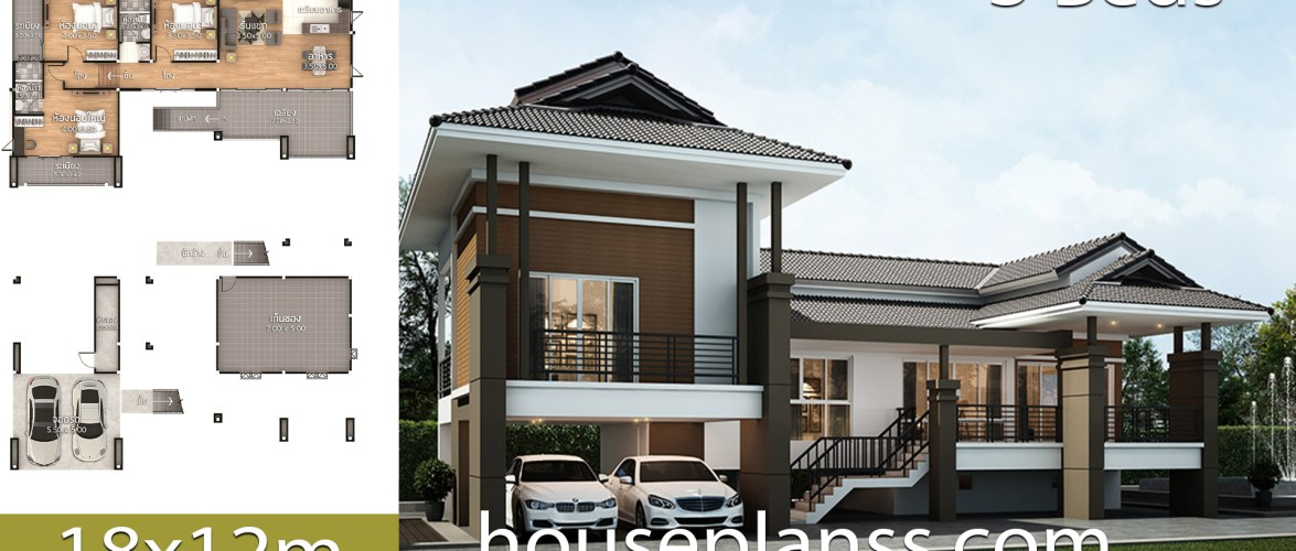 House Design Plans 18×12 with 3 bedrooms
