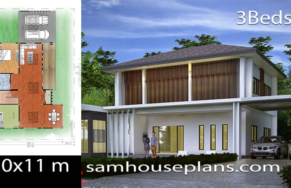 House Plans Idea 20x11m with 3 bedrooms