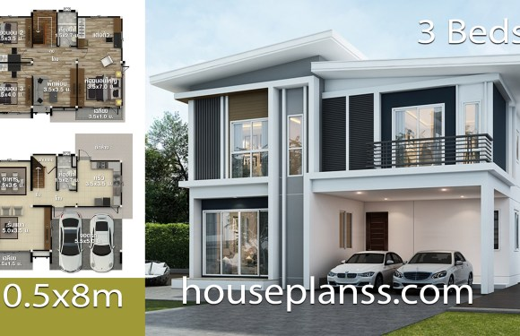 House Design Plans Idea 10.5×8 with 3 bedrooms