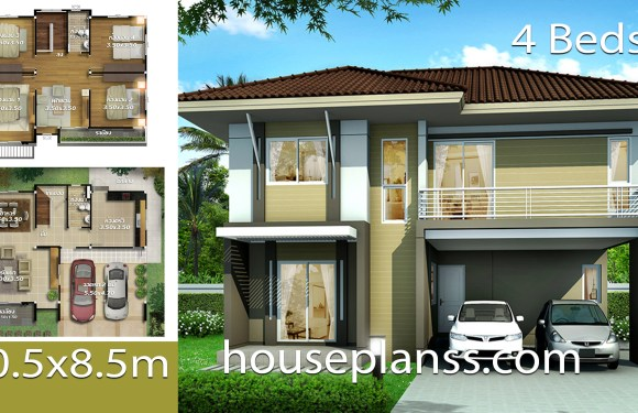 House Design Plans Idea 10.5×8.5 with 4 bedrooms
