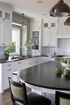 72 Beautiful Kitchen Countertop Ideas with White Cabinets Look Luxurious 2205