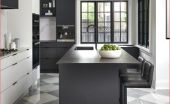 Black And White Kitchen With Checkered Flooring On Black And Grey Kitchen Of Black And Grey Kitchen