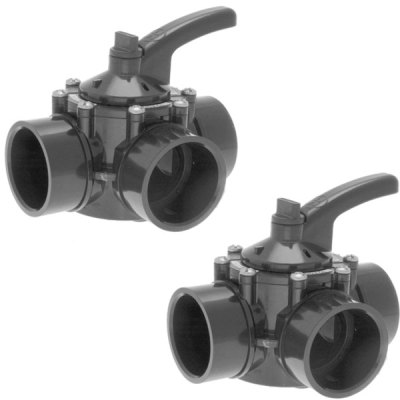 Hayward 1.5-2 in. PVC Diverter Valve 3 Port PSV3SDGR - 2 Pack