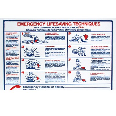 "Pool Sign Spanish Emergency Life Saving Techniques CPR 24"" x 18"" B8710"
