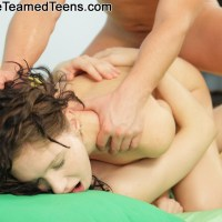 Double Teamed Teens Aspen: Rough DP With Very Slender Girl