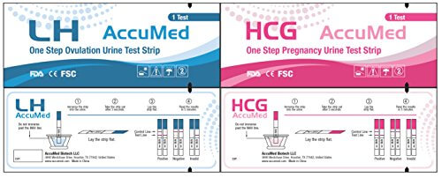 41MGDH4fHcL 1 - AccuMed® Combo 50 Ovulation (LH) & 25 Pregnancy (HCG) Test Strips Kit, Clear and Accurate Results, FDA Approved and Over 99% Accurate