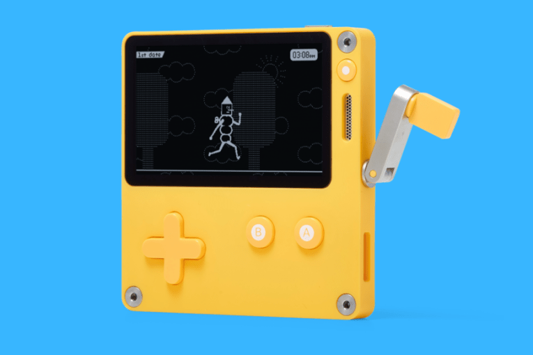 Get the Game Boy inspired console with a crank