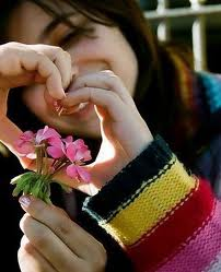 girl with heart and flowers facebook profile pictures