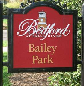Bedford signage, which is restrained in scale, but effective and pleasing. Best Raleigh Neighborhoods, North Raleigh, Bedford