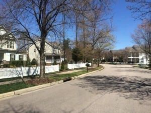 Falls River Ave. after entering Bedford from Dunn Rd. Circle, Best Raleigh Neighborhoods, North Raleigh, Bedford