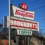 Inside-the-Beltline, Mordecai Neighborhood, Iconic Krispy Kreme Sign at Peace and Person St. Entrance to Mordeca