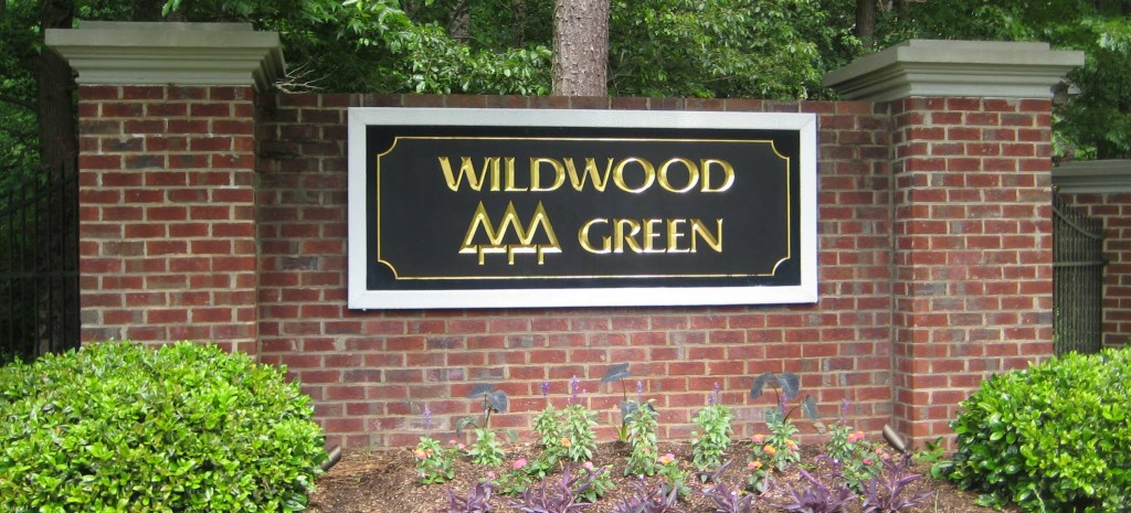 Wildwood Links Main Entrance at Strickland Road, Best Raleigh Neighborhoods, Midtown, Wildwood Green Golf Community.