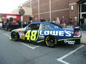 Jimmy Johnson's Car in Downtown Mooresville for Stocks for Tots event