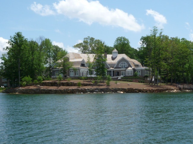 One of many grand waterfront estates in The Point Lake Norman