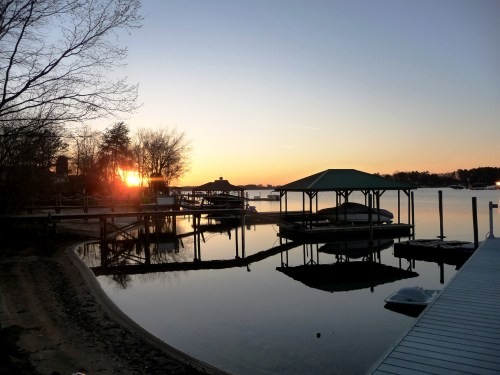 Lake Norman waterfront home's view at sunset