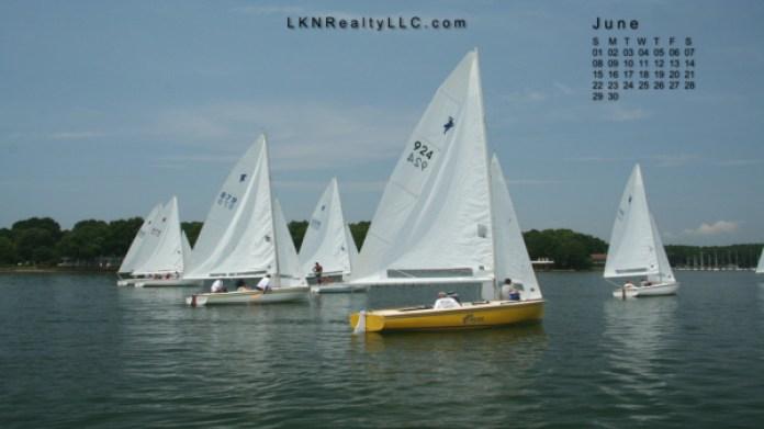 Lake Norman Real Estate's June 2014 Wallpaper Calendar Photo of a sailboat race on Lake Norman