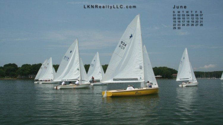 Lake Norman Real Estate's June 2014 Wallpaper Calendar Photo of a sailboat race on Lake Norman