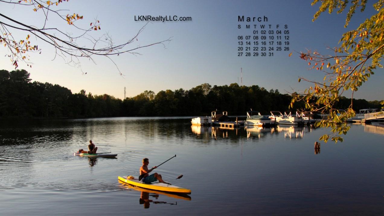 Lake Norman calendar of kayak at sunset