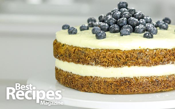 Zucchini Cake with Cream Cheese Frosting and Blueberries