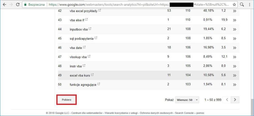 Blog - Pobieranie danych z frazami kluczowymi, pozycją, CTR do Excel csv
