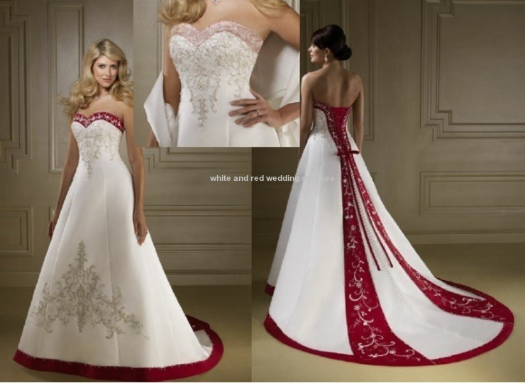 White And Red Wedding Dresses At David's Bridal