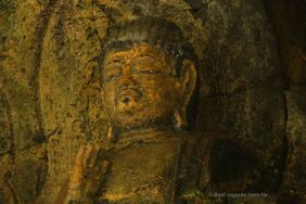 Detail of the 3 Nyorai statues, 12th century