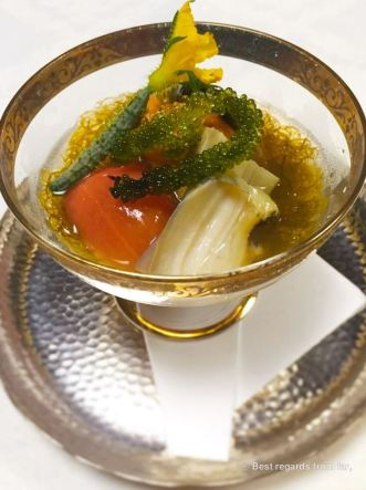 The appetizer: sugar tomato, soft grilled eggplant, topped off with sea urchin in a juice of thin Muzuku sea-weed.