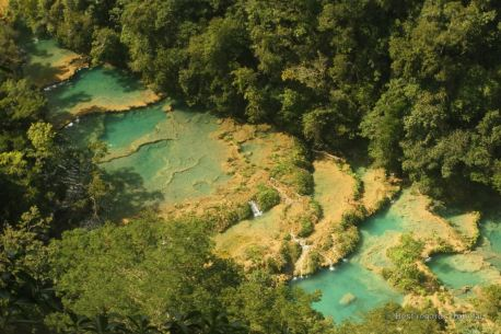 The natural limestone pools of Semuc Champey from El Mirador