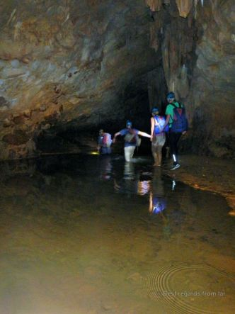 Making our way deeper into the cave that is getting more and more flooded