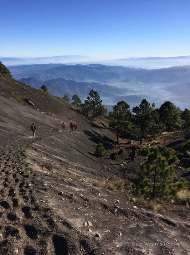 Making our way down from Acatengno through the lush volcanic soil, Guatemala