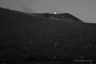 The moon is landing on the lunar landscape of the Telica volcano, Nicaragua