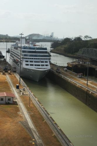 A cruise ship going through the Miraflores lock, Panama Canal