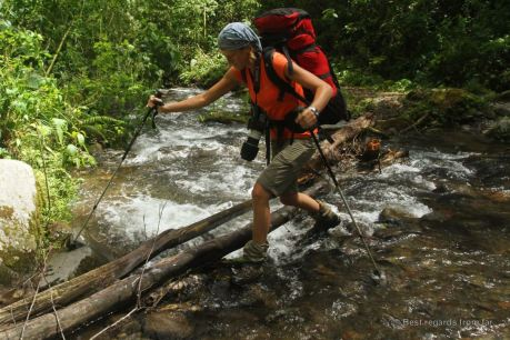 Challenging Rio Caldera crossing along the Quetzal trail, Panama