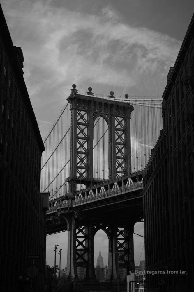 View on the Manhattan bridge from DUMBO, New York City