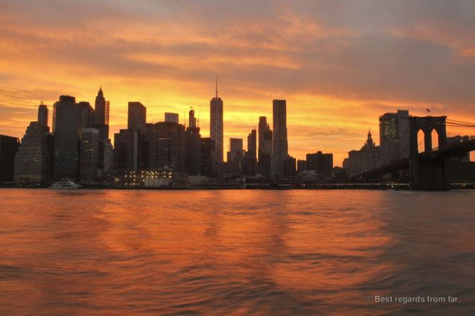 Sunset on the Manhattan skyline from Brooklyn, New York City
