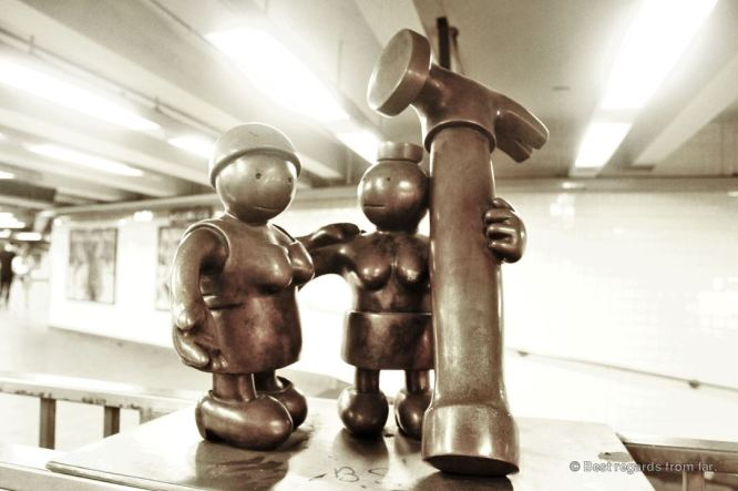 The cartoon-like sculpture by Tom Otterness
