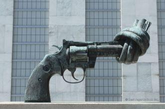 One of the original Non-Violence bronze sculpture by the Swede Carl Fredrik Reuterswärd, UN HQ, New York City