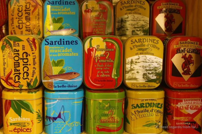 Colourful sardine cans, Hyères, French Riviera