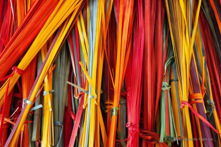 Naturally dyed bamboos ready to be woven
