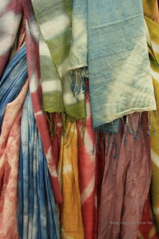 Freshly dyed scarfs, natural dyeing and weaving workshop Vientiane, Laos